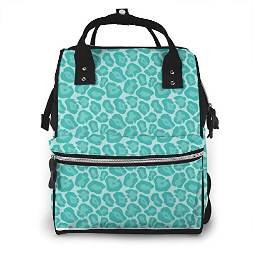 Girly Teal Leopard Fashion Diaper Bags Mummy Backpack Multi Functions Waterproof Large Capacity Nappy Bag Nursing Bag for Baby Care for Traveling