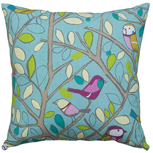 Linen Loft Duck Egg Blue Bird on a Branch Cushion Cover. 17x17 Double Sided Illustrated Cute Cartoon Design. 100% Cotton Pillow Case.