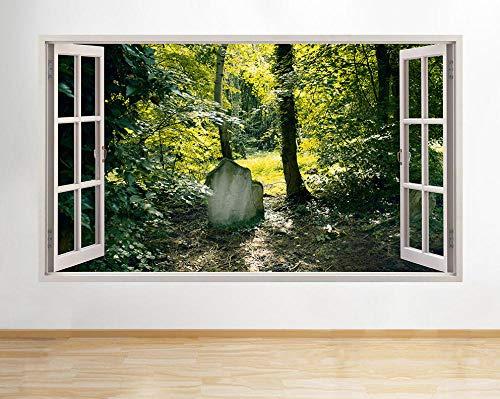 Pegatinas dePared Pegatinas de pared Árbol de piedra Hojas Etiqueta de la ventana 3D Art Vinyl Room H841