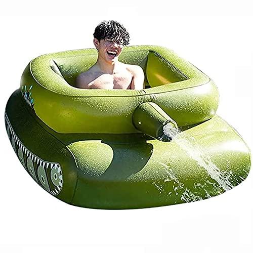 Inflatable Tank Pool Float, An Inbuilt Water Cannon, Aufblasbarer Poolspielzeug, Sprühwasser Panzer Schwimmsessel, Sommerspiel Tank mit Spritzpistole Schwimmreifen Sommerspaß Grün