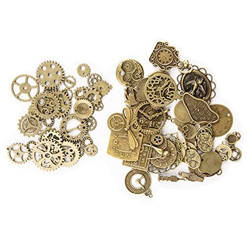 KIMI -HOSI 100g Vintage Charms Colgante Antiguos Engranajes Reloj Reloj Steampunk Charms Accesorios para DIY Artesanía Hecho a Mano Joyería Fabricación Accesorio - Bronce