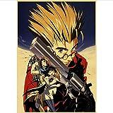 H/H Anime Giapponesi Trigun Poster Adesivi Murali Poster retrò Stampe Ad Alta Definizione per Soggiorno Decorazione Domestica (50X70Cm) Senza Cornice