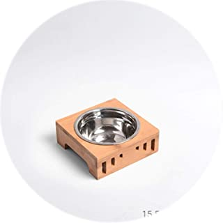 White Island Dog Bowl Bamboo Holder Cat Feeder Ceramic Dog Double Bowls Stainless Steel Puppy Feeder Detachable Pet Bowl