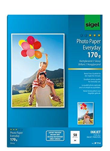 SIGEL IP714 InkJet Fotopapier hochglänzend, weiß, 170 g, A4, 50 Blatt - weitere Stückzahlen