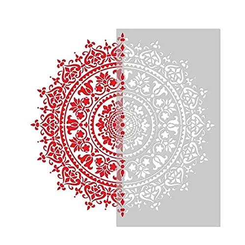 Delisouls Plantilla auxiliar de pintura de mandala, plantilla reutilizable grande, herramienta de inyección de tinta para piso de pared azulejo tela muebles pintura accesorio