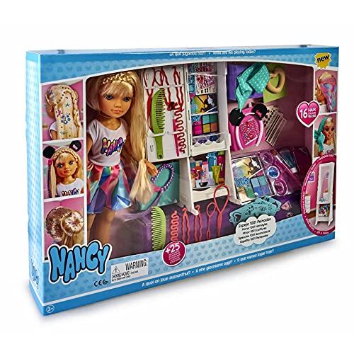 Nancy - Espejo 1001 Peinados, muñeca con un Armario Lleno Accesorios para Jugar a Hacer Peinados Divertidos maquillar,...