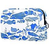 Estuche cosméticos Viaje portátil Organizador Bolsas Maquillaje Un Desfile cetáceo geométrico Azul Brillante por Aldea Cremallera Bolsillo Grande Almacenamiento