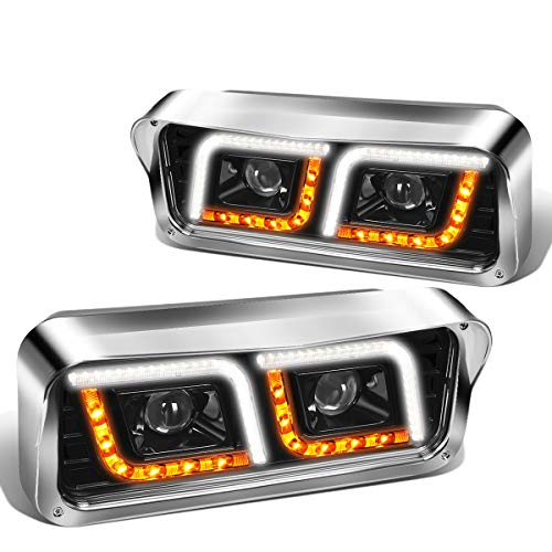 Pair Black LED DRL Turn Signal Dual Projector Headlight Lamps Compatible with Peterbilt 365 Western Star Kenworth 81-91