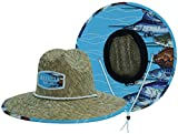 Men's Straw Hat with Fabric Pattern Print Lifeguard Hat, Beach Ocean, Cruise, and Outdoor, Summer, Fits All, Malabar Hat Co (School of Fishes)