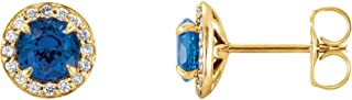 Set 14K Yellow Gold with Diamond Chatham Lab-Created Blue Sapphire 5 mm Pair Polished Blue Sapphire And 1/6 CTW Dia Earrings W/Backs