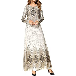 Zhuhaitf Casual Printed Dresses Abaya Robe Moroccan Kaftan Caftan Jalabiyas Malay Middle East Maix Dress Clothes for Muslims Women