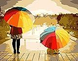 Kits Manualidades DIY Regalos - Pinturas con Numeros para Adultos Pinturas Oleo Pinturas para Lienzo - Colores del Arco Iris, Paraguas, Hermosos Paisajes.