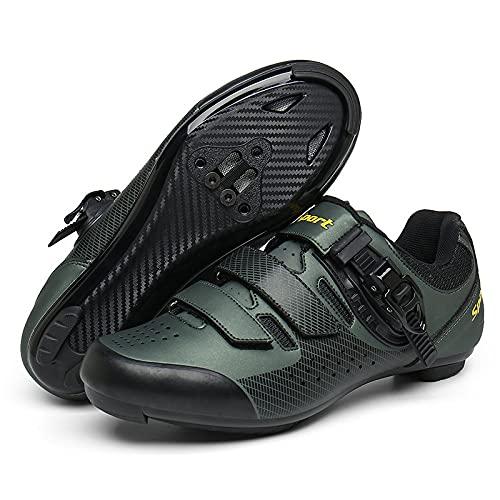 KUXUAN Zapatillas de Ciclismo Hombre Mujer Road SPD Bike Zapatillas de Ciclismo Cordón de Zapatos Compatible con los Pedales Look Delta,Green-45EU