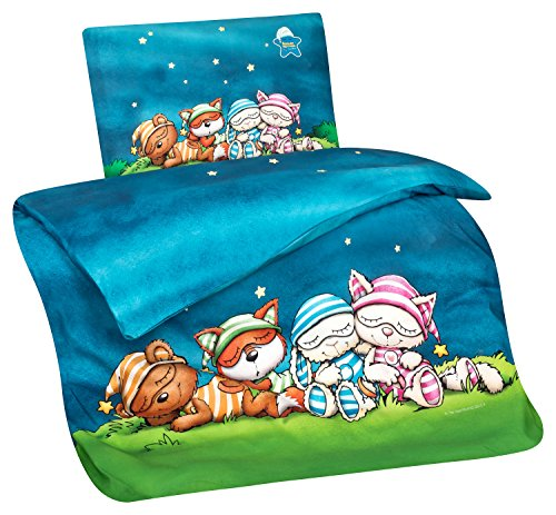 Aminata Kids Kinderbettwäsche 100x135 Schlafmütze Mädchen, Junge, Jungen - Baumwolle - Lizenz-Kinder-Bettwäsche-Set mit Schlafmützen-Motiv - weich & kuschelig - Hase, Katze, Bär & Fuchs