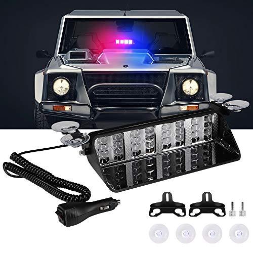 Luz estroboscópica de advertencia de emergencia, Calevin 12V 32 LED Barra de luz de advertencia de peligro para el automóvil con luz de policía intermitente, rojo y azul