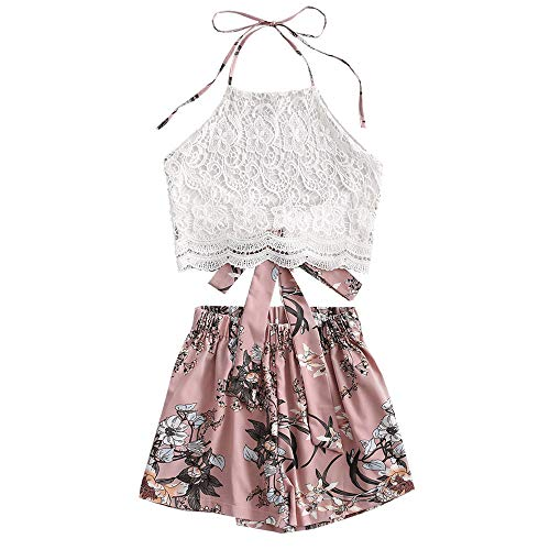 ZAFUL Damen Blumendruck Lace Panel Neckholder Zurückbinden Crop Tank Top und Shorts Set(Rosa,L)