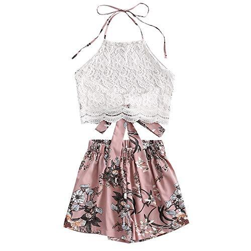 ZAFUL Damen Blumendruck Lace Panel Neckholder Zurückbinden Crop Tank Top und Shorts Set(Rosa,M)
