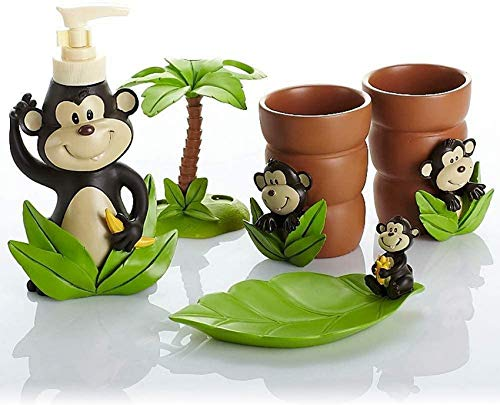GCE Juego de Accesorios de baño de 5 Piezas 3D Cute Monkeys...