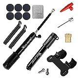 Portable Bike Tyre Pump,Bicycle Puncture Repair Kit Set,Aluminum Alloy Mini Mounted Air Pump