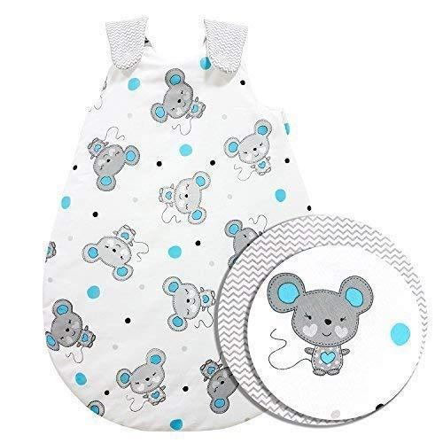 ZICK-ZACK Kollektion Baby-Joy - Babyschlafsack 100% Baumwolle WARM gefüttert Außensack Schlafsack (62/68, 07 Maus Türkis)
