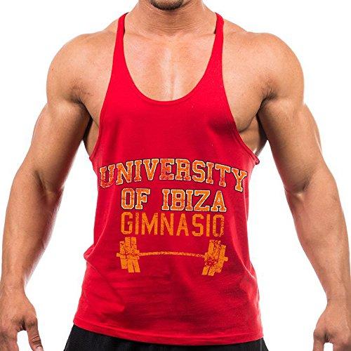 University of Ibiza Gimnasio Vintage Camiseta sin Mangas con Espalda Nadador - Rojo, L - Large