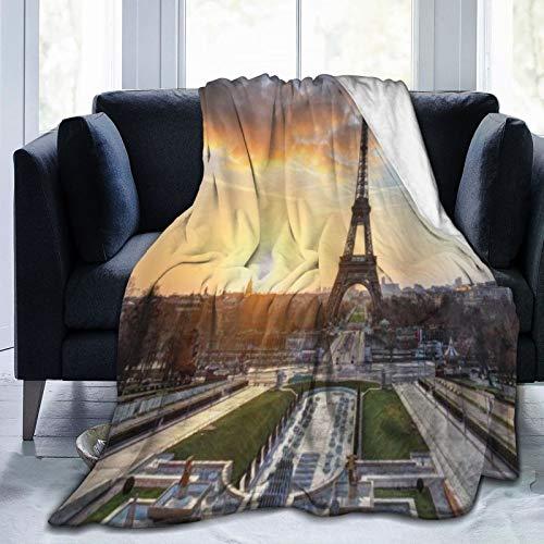 QIUTIANXIU Mantas para Sofás de Franela 150x200cm Amanecer en París con la impresión escénica de escapadas de Vacaciones de la Torre Eiffel Manta para Cama Extra Suave