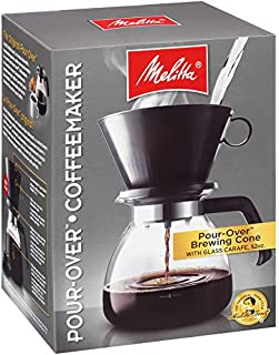 Melitta 10-Cup Pour Over Coffee Brewer w/ Glass Carafe, Black