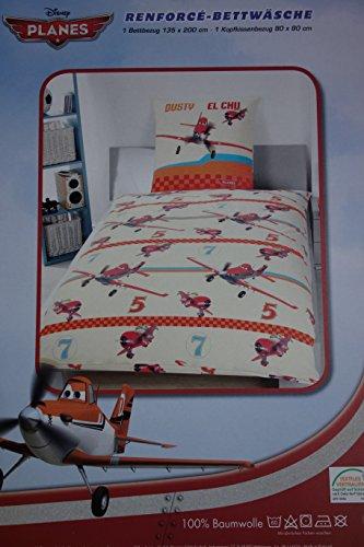 Klaus Herding GmbH Disney Planes Bettwäsche (Wendebettwäsche), 1 x Kissenbezug 80 x 80 cm und 1 x Bettbezug 135 x 200 cm, 100 % Baumwolle mit Reißverschluss