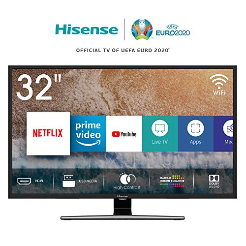 Hisense H32AE5720 TV LED Hd, Single Stand Design, Quad Core, Smart TV Vidaa U, Crystal Clear Sound 12W, Tuner Dvb-T2/S2 Hevc, Wi-Fi