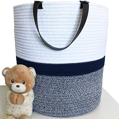 Large Cotton Rope Storage Basket with Leather Handle Tall Woven Laundry Basket Nursery Bin Sturdy product image