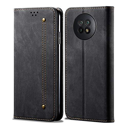 Eabhulie Funda Redmi Note 9T 5G, Carcasa de Cuero PU Retro Mezclilla Cartera Tapa con Soporte Plegable para Xiaomi Redmi Note 9T 5G Negro