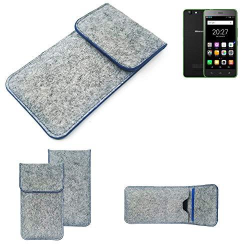 K-S-Trade® Handy Schutz Hülle Für Hisense Rock Lite Schutzhülle Handyhülle Filztasche Pouch Tasche Case Sleeve Filzhülle Hellgrau, Blauer Rand