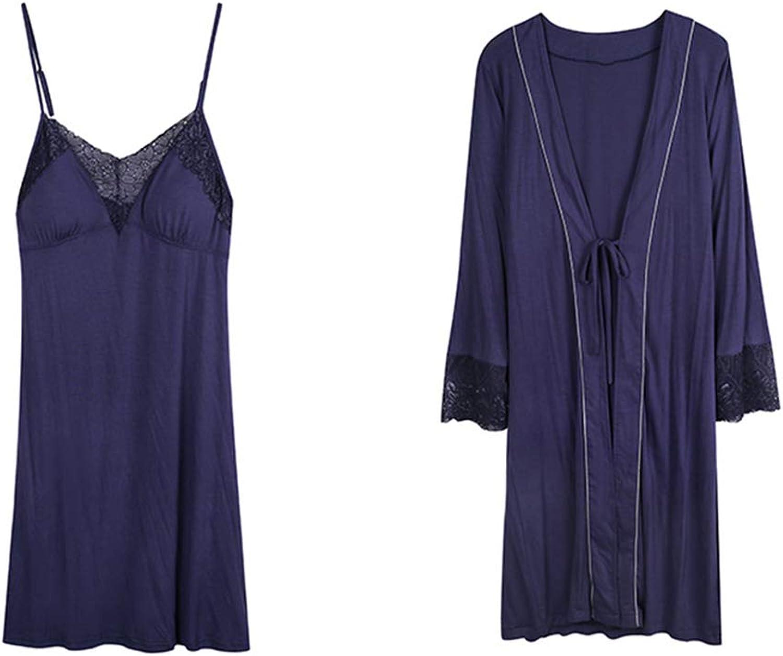 Pajama Sets Pajamas Spring and Autumn Sexy Pajamas Women's Long Sleeve Thin Sling Nightdress Nightgown TwoPiece Pajama Sets (color   bluee, Size   L)