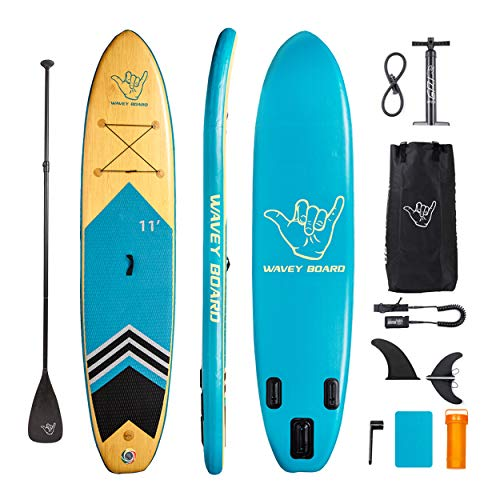 """WAVEY BOARD 11' Inflatable Stand Up Paddle Board with Premium SUP Accessories & Easy Carry Bag & Bottom Fin & Paddle