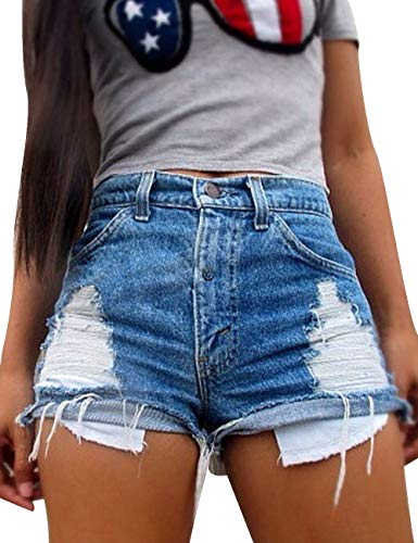 Sexyshine Women's Casual High Waist Distressed Cut Off Ripped Jeans Denim Shorts Blue,XL