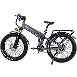 W Wallke 2021 X3 Pro Electric Bike 26 inch Folding ebike Fat tire 14 ah Lithium Battery 750W Motor 8 Speed Gears Commuter (Matte Gray)
