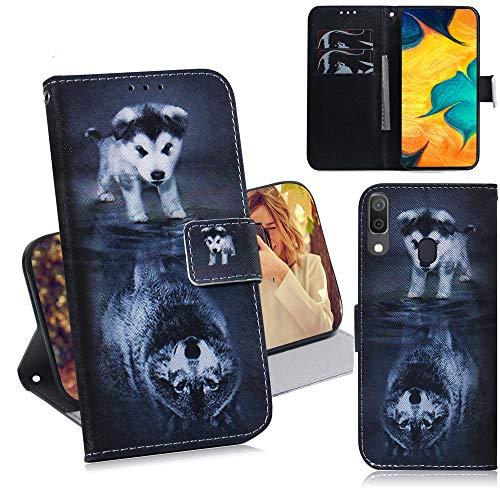 DodoBuy Samsung Galaxy A20/A30 Hülle Flip PU Leder Schutzhülle Handy Tasche Case Cover Wallet Standfunktion mit Kartenfächer Magnetverschluss für Samsung Galaxy A20/A30 - H& Wolf