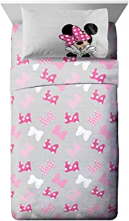 Jay Franco Disney Minnie Mouse Faces Full Sheet Set - 4 Piece Set Super Soft and Cozy Kid's Bedding - Fade Resistant Microfiber Sheets (Official Disney Product)