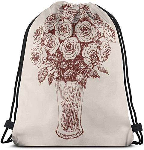 NA Een bos van rozen In Een Bloem Vaas Hand Tekenen Aangepaste Klassieke Draagbare Trekkoord Rugzak, 14.2