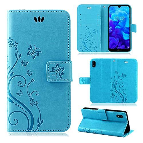 betterfon | Huawei Y5 2019 Hülle Handy Tasche Handyhülle Etui Wallet Hülle Schutzhülle mit Magnetverschluss/Kartenfächer für Huawei Y5 2019 Blume Blau