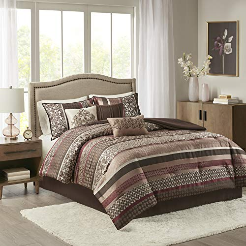 """Madison Park Cozy Comforter Set-Luxurious Jaquard Traditional Damask Design All Season Down Alternative Bedding with Matching Shams, Decorative Pillow, Queen(90""""x90""""), Princeton Red, 7 Piece"""