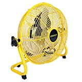Stanley 12 Inch Industrial High Velocity Floor Fan - Direct Drive, All-Metal Construction, 3 Speed Settings, Portable (ST-12F)