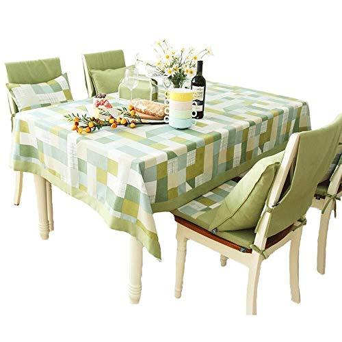 LGQBH Manteles de tela - Pastoral nórdico rectangular de lino de mesa de polvo Antimanchas mesa mesa de café mesa verde tapicería, 140x220cm