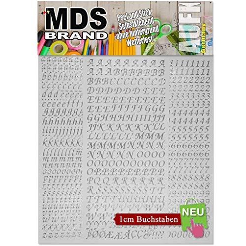 MDS Brand 1cm Schreibschrift Buchstaben A-z / 0-9 Groß für Kerzen & Scrapbook 21(Silber)