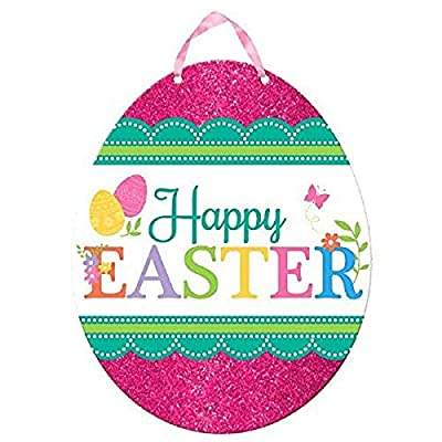 """Amscan Egg-stra Special Happy Easter Egg Sign Party Decoration, Fiberboard, 11"""" x 11"""""""