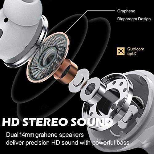 Bluetooth 5.0 Headset Earbuds Headphones Built-in Microphone and Charging Box, 3D high-Definition Stereo Noise Reduction, Suitable for Apple Airpods Android/iPhone/Samsung