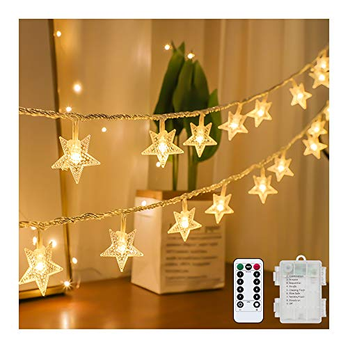 Tasodin Star String Lights Battery Operated Waterproof 40 LED 20 FT Star Fairy String Lights with Remote Control for Home, Party, Christmas, Wedding, Garden Decoration, Warm White