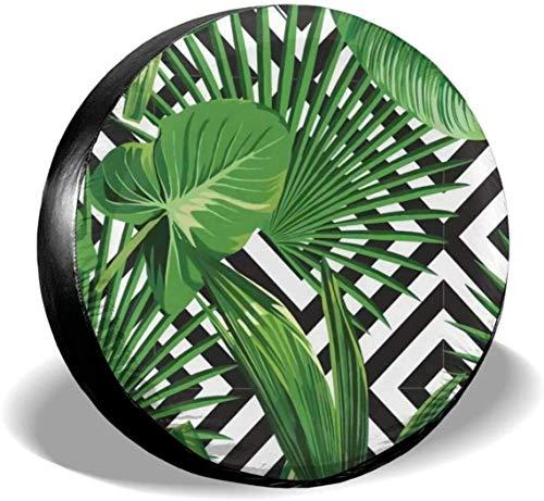 MODORSAN Green Palm Leaves Cubierta de neumático de Rueda de Repuesto Cubiertas de Rueda universales de poliéster para Jeep Trailer RV SUV Camión Accesorios, 17 Pulgadas