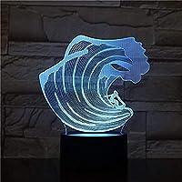 タッチリモコンイリュージョンホームデコレーションライト付き3DサーフィンLEDアクリル常夜灯