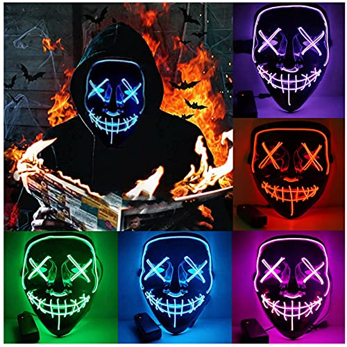 HONGXUNJIE Halloween LED Purga Mascara Carnaval Terror MáScaras,MáScara Disfraz Luminosa,para Carnival Navidad Halloween Cosplay Grimace Festival Fiesta Show Mascarada (Blue)